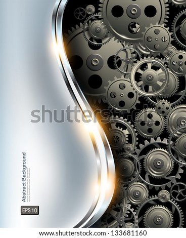 Abstract background metallic chrome silver with gears, vector. - stock vector