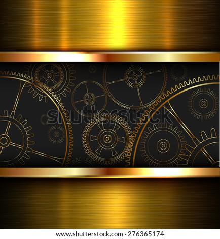 Abstract background metallic gold with gears, vector illustration. - stock vector