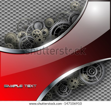 Abstract background metallic with gears, vector illustration. - stock vector