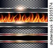 Abstract background, metallic with realistic fire flames, vector. - stock vector