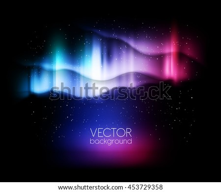 abstract background northern lights - vector illustration - stock vector