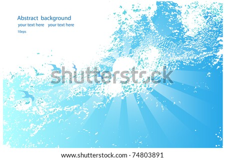 Abstract background of blue sky with  birds and the sun