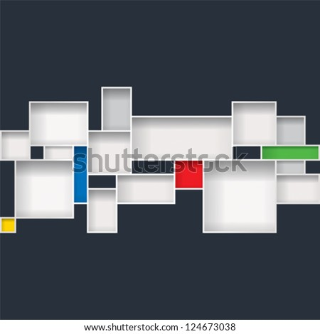 Abstract background of boxes cabinet. - stock vector