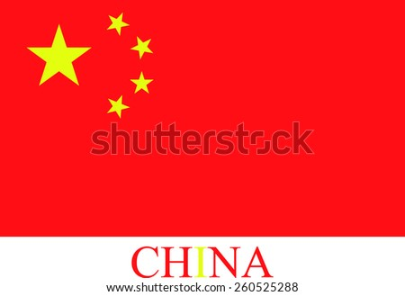 Abstract background of China flag with the country's name colored with the flag color  - stock vector