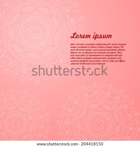 Abstract background of circular elements - A Place in the text - vector illustration for ethnic creative design projects. Mandala. - stock vector