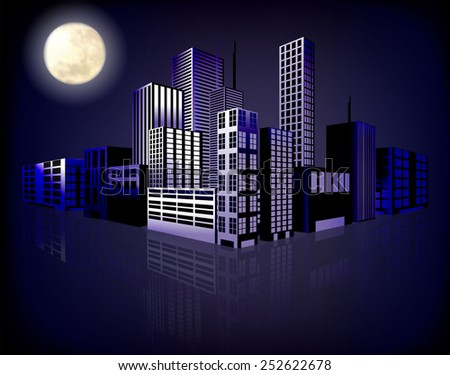 Abstract background of city at night. Vector eps10. - stock vector