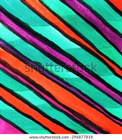 Abstract background of colored stripes. Handmade paint on paper. Easily Editable vector illustration. - stock vector
