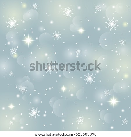 Abstract background of crystal snowflakes and snow, bright twinkling stars, highlights and sparkles. It can be used as a template, poster, postcard, New Year, Christmas. Vector illustration.