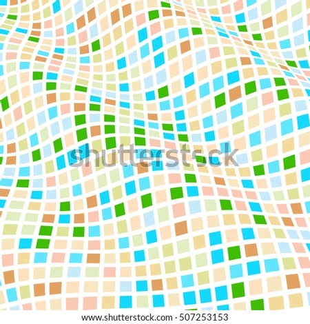 Abstract background of geometric shapes. Geometric mosaic of squares. Wavy background