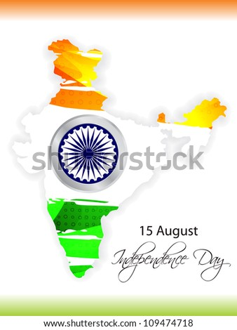 Abstract background of india map with flag design. vector illustration - stock vector