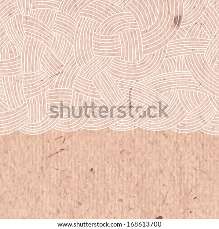 Abstract background of interwoven strands of on the cardboard. Vector illustration.