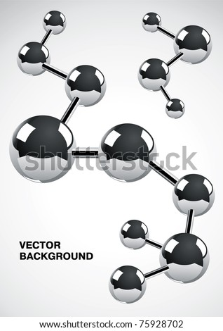 Abstract background of several interconnected metal atoms - stock vector
