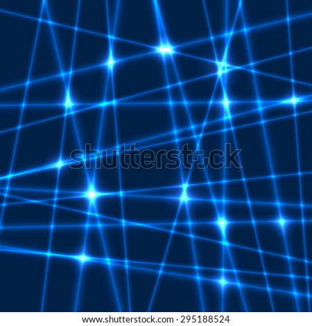 Abstract background of the blue laser rays.Laser show with flashes of light and lighting effects. Light laser beams - stock vector