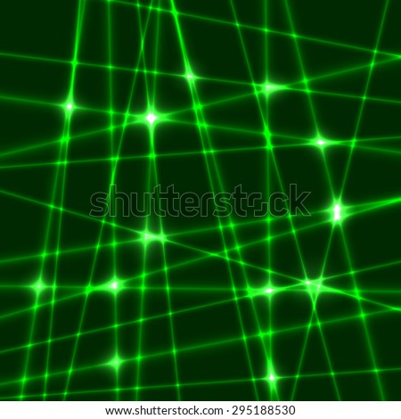 Abstract background of the green laser rays.Laser show with flashes of light and lighting effects. Light laser beams - stock vector