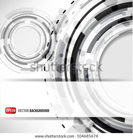 abstract background of the techno circles - stock vector