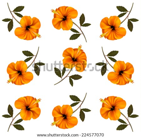 Abstract background of yellow beautiful flowers. Vector.  - stock vector