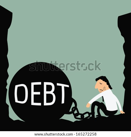 Abstract background on depressed businessman being trapped with big ball and chain in a hole, with message ' debt'. Business concept in bankruptcy, failure, or debt.  - stock vector