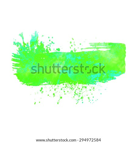 Abstract background or banner. Colorful watercolor isolated design elements. Vector illustration. Easy editable template.  Bright acid green and  blue colors. - stock vector