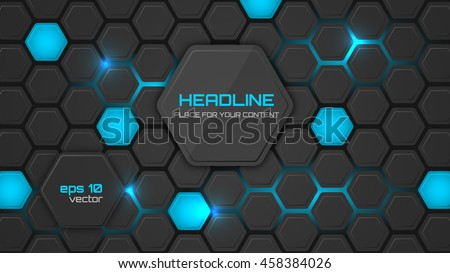Abstract Background Or Pc Desktop Wallpaper Vector Illustration With Hexagonal Structure And Backlighting