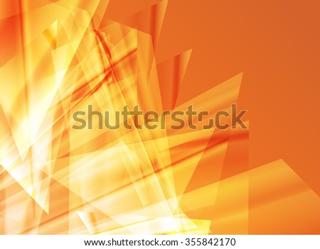 Abstract background orange design vector concept made of transparent fragments - stock vector