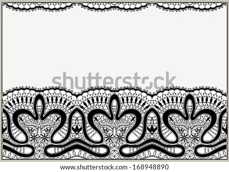 Abstract background. Ornamental lace pattern, vector seamless fabric with butterfly and flowers, design element, hand drawn sketch border