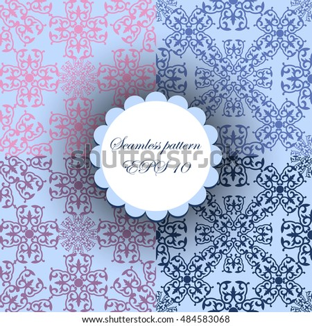abstract background. ornamental.sky blue and purpul siamless pattern
