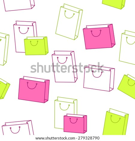 Abstract background pattern paper shopping bag pink green seamless vector