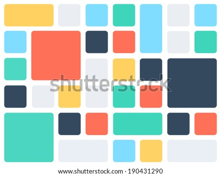Abstract background pattern template made of colorful rounded square mosaic with a lot of copy space. Vector graphic. - stock vector