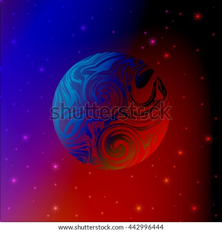 abstract background planet in space stars - stock vector