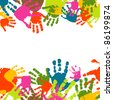 Abstract background, prints of hands of the child, vector illustration - stock photo