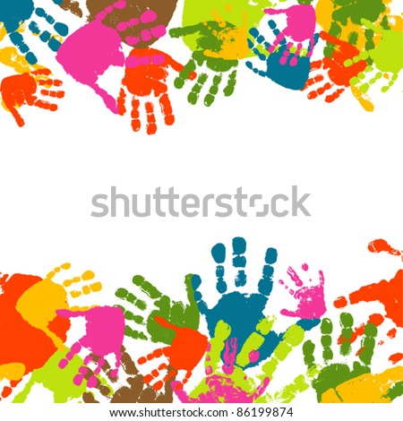 Abstract background, prints of hands of the child, vector illustration - stock vector