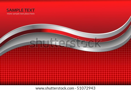 Abstract background red with silver metallic elements, vector