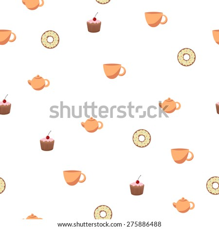 Abstract background seamless donut tea cup cake teapot vector - stock vector