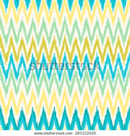 Abstract background. Seamless ikat pattern. Vector illustration. mint and yellow zigzag pattern ikat vector illustration. - stock vector