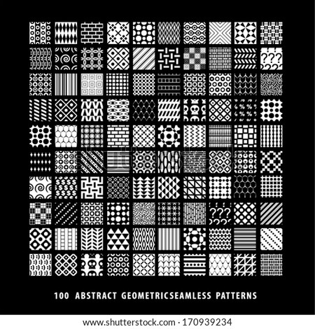 Abstract background seamless pattern collection. Set of black and white patterns. - stock vector