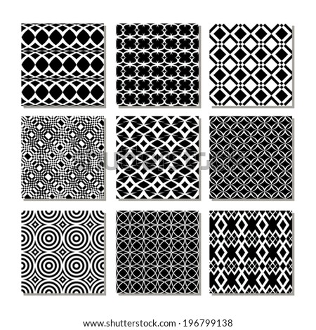 Abstract background seamless pattern collection. Set of black and white patterns.