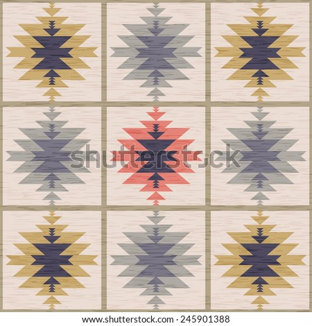 Abstract background. Seamless pattern in folk style. Vector illustration. Antique American Navajo textile. - stock vector