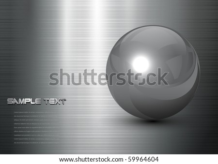 abstract background steel ball on polished metal texture, vector - stock vector