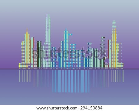 abstract background-stylize city.light plus water , place for text