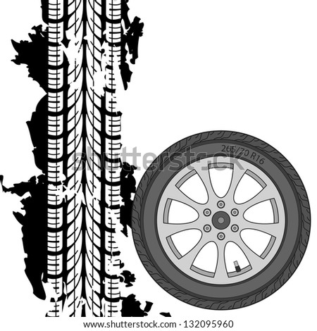 Abstract background tire prints, vector illustration - stock vector