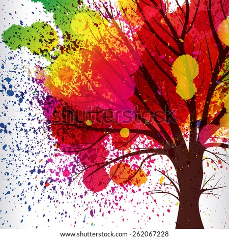 abstract background, tree with branches made of watercolor drops. - stock vector
