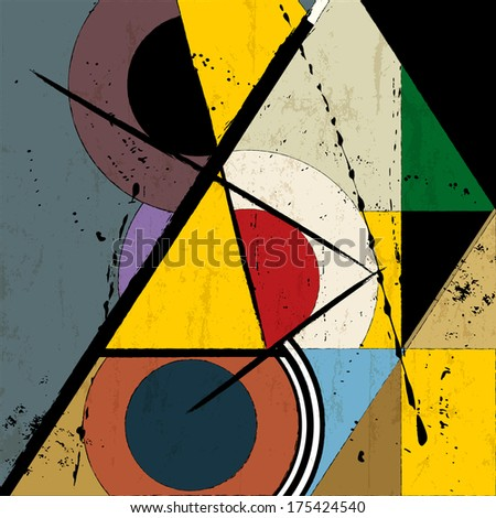abstract background, vintage/retro geometric design, grungy - stock vector