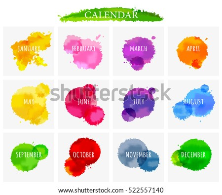 Abstract background watercolor painting, collection 12 month for calendar, illustration design.