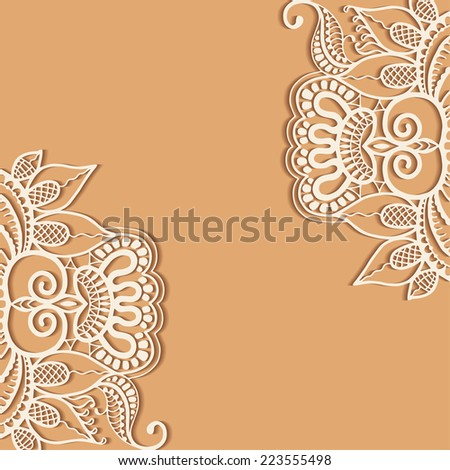 Abstract background, wedding invitation or greeting card design with lace pattern, ornamental vector illustration - stock vector