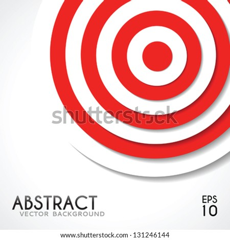 Abstract background white and red target template for design - stock vector