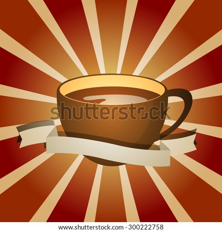 Abstract background with a cup of coffee. for menu, restaurant, cafe, bar, coffeehouse. Outline - stock vector