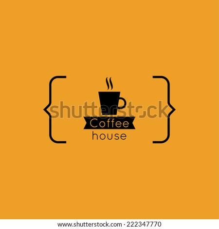 Abstract background with a cup of coffee from a white ribbon and text Coffee house and bracket. orange. for menu, restaurant, cafe, bar, coffeehouse. logo - stock vector