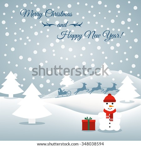 Abstract background with a snowman and Santa. Can be used greeting card, greetings, advertisement, template, poster in web design and printing. New Year, Christmas. Vector illustration - stock vector
