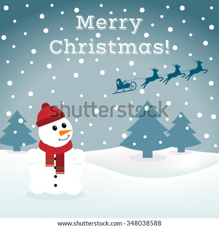Abstract background with a snowman and Santa. You can use as a template, poster, postcard, New Year, Christmas. Vector illustration. - stock vector