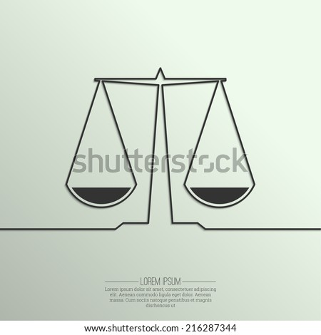 Abstract background with a symbol of balance and justice of the ribbon. Scales. Compare.  - stock vector